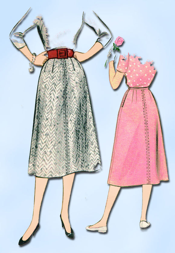 1950s Vintage McCalls Sewing Pattern 3338 Easy Misses Day Skirt Size 28 Waist - Vintage4me2