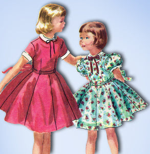 1950s Vintage McCalls Sewing Pattern 3345 Girls Dress w Collar and Cuffs Size 8