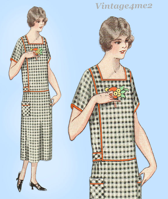 McCall 3347: 1920s Rare Plus Size House Dress Sz 48 Bust Vintage Sewing Pattern