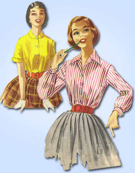 1950s Vintage McCalls Sewing Pattern 3368 Easy Junior Misses Blouse Size 12 32B