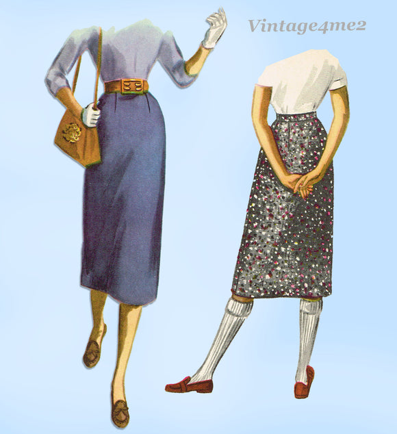 1950s Vintage McCalls Sewing Pattern 3369 Misses Easy Skirt Size 26 Waist