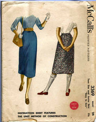 1950s Vintage McCalls Sewing Pattern 3369 Easy Junior Misses Skirt Size 24 Waist