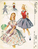 1950s Vintage McCalls Sewing Pattern 3382 Little Girls Skirt Blouse Weskit Sz 10