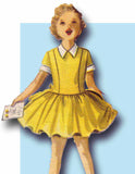 1950s Vintage McCalls Sewing Pattern 3383 Uncu Little Girls Low Waist Dress Sz 8