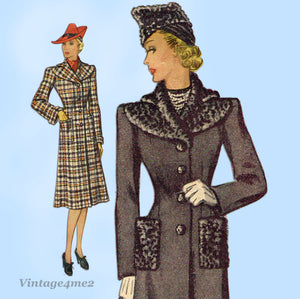 McCall 3395: 1930s Stunning Misses Winter Coat Sz 36 Bust Vintage Sewing Pattern