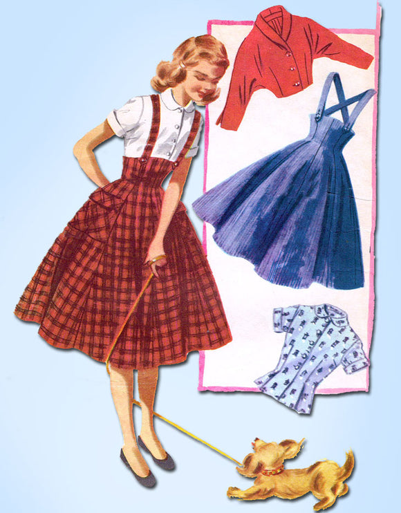 1950s Vintage McCalls Sewing Pattern 3404 Girls Skirt Blouse and Jacket Size 12