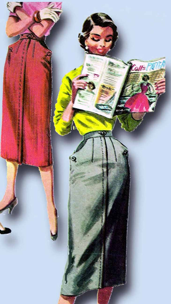 1950s Vintage McCalls Sewing Pattern 3410 Easy Uncut Misses Skirt Size 24 Waist - Vintage4me2