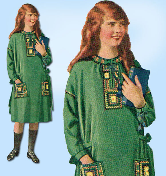 1920s Vintage McCall Sewing Pattern 3441 Uncut Girls Embroidered Dress Size 12 - Vintage4me2
