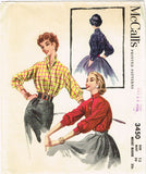 1950s Vintage McCalls Sewing Pattern 3450 Women's Misses' Kimono Blouse Size 12