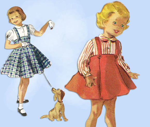 1950s Vintage McCall's Sewing Pattern 3454 Uncut Toddler Girls Suspender Skirt 6 -Vintage4me2