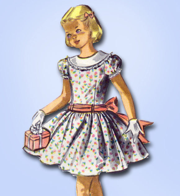 1950s Vintage McCalls Sewing Pattern 3455 Toddler Girls Party Dress Size 3 22B