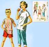 1950s Vintage McCall's Sewing Pattern 3554 Girls Peddle Pushers & Blouse Size 10