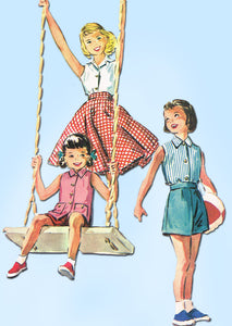 1950s Vintage McCalls Sewing Pattern 3593 Toddler Girls Play Clothes Size 4 23B - Vintage4me2