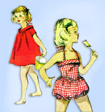 1950s Vintage McCalls Sewing Pattern 3628 Baby Girls Swim Suit & Cover Up Size 2