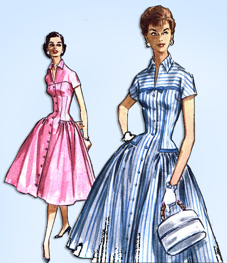 1950s Vintage McCalls Sewing Pattern 3694 Uncut Misses Fitted Dress Size 34 Bust
