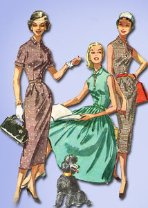 1950s Vintage McCalls Sewing Pattern 3722 Misses Dress w Thin or Full Skirt 34B