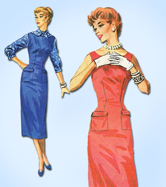 1950s Vintage McCalls Sewing Pattern 3729 Easy Misses Wiggle Dress Size 14 32B