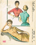 1950s Vintage McCalls Sewing Pattern 3735 Misses Fitted Blouse Size 12 30 Bust