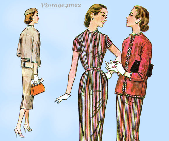 1950s Vintage Mccalls Sewing Pattern 3790 Misses Day Dress and Jacket Size 34 B