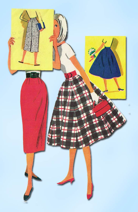 1950s Vintage McCalls Sewing Pattern 3809 Easy Misses Skirt Set Size 26 Waist
