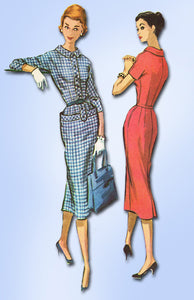 1950s Vintage McCalls Sewing Pattern 3823 Uncut Misses Slender Dress Sz 14 34 B