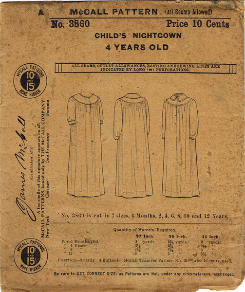1910s Vintage McCall Sewing Pattern 3860 Uncut Toddler Girls Nightgown Size 4 - Vintage4me2