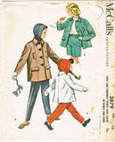 1950s Vintage McCalls Sewing Pattern 3879 Girls Coat Pants Shorts and Hood Sz 10