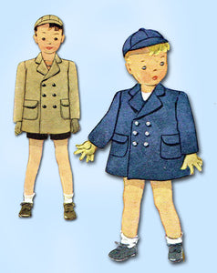 1940s Vintage McCall Sewing Pattern 3885 Toddler Boy's Coat & Hat Size 2 21 Bust - Vintage4me2