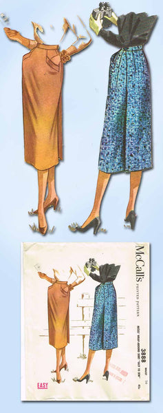 1950s Vintage McCalls Sewing Pattern 3888 Uncut Wrap Around Skirt Size 26 Waist