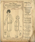 1920s Vintage Girls Dress Uncut 1925 McCall Sewing Pattern 3890 Size 8 ORIG - Vintage4me2