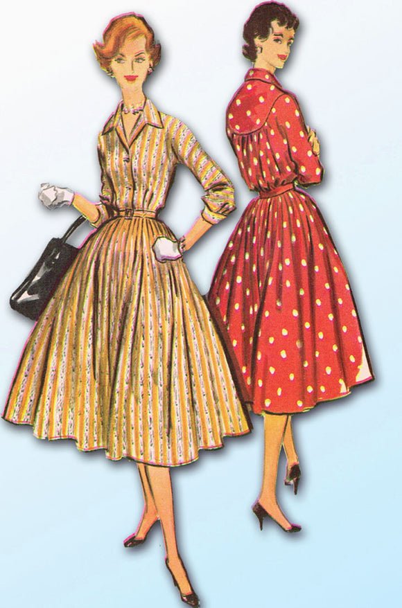 1950s Vintage McCalls Sewing Pattern 3951 Misses Easy Shirtwaist Dress Size 34B
