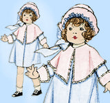 McCall 3966: 1920s Rare Uncut Baby Girls Coat Size 1 Antique Sewing Pattern