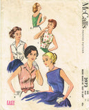1950s Vintage McCalls Sewing Pattern 3973 Easy Misses Blouse Set Size 14 34 B