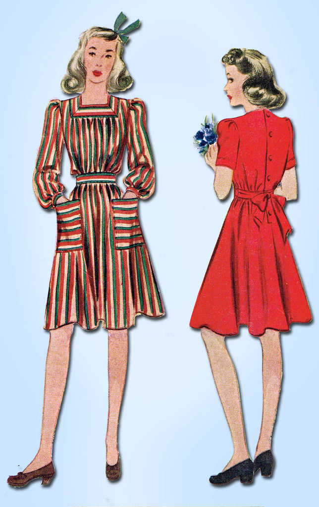 1930s Vintage McCall Sewing Pattern 4002 Pretty WWII Girls Dress Size 8 26B - Vintage4me2