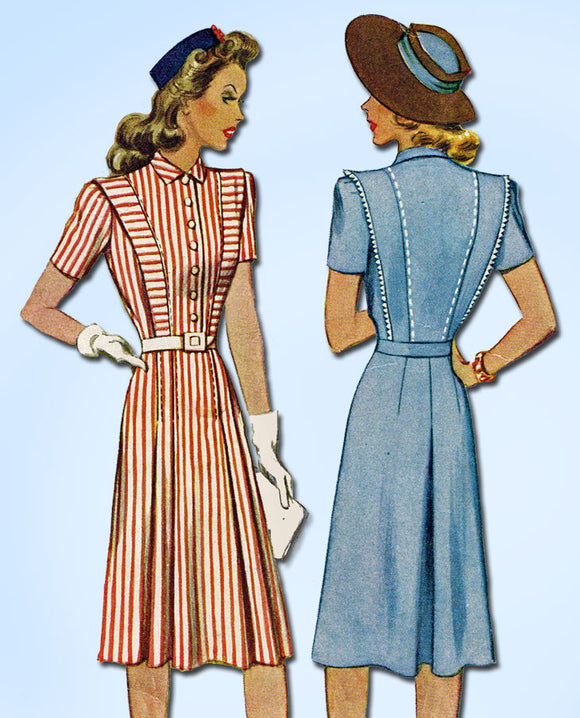 1940s Vintage McCall Sewing Pattern 4063 WWII Misses Bratelle Dress Size 17 35B - Vintage4me2