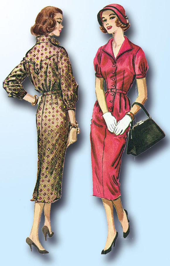 1950s Vintage McCalls Sewing Pattern 4174 Misses Slender Street Dress Size 36B