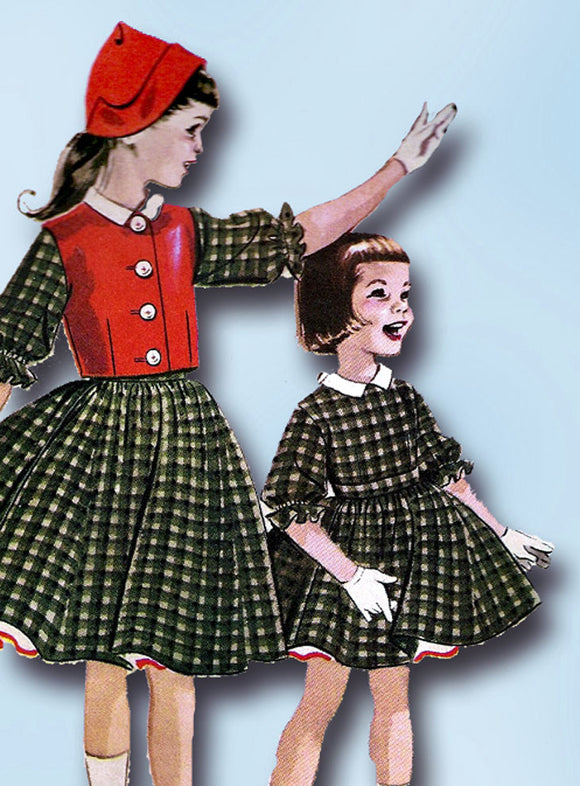 1950s Vintage McCalls Sewing Pattern 4203 Designer Helen Lee Girls Dress Size 6