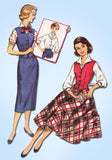 1950s Vintage McCallsl Sewing Pattern 4240 Misses Skirt Blouse Weskit Size 32 B