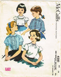 1950s Vintage McCall Sewing Pattern 4281 Easy Little Girls Blouse Set Size 10