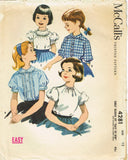 1950s Vintage McCall Sewing Pattern 4281 Easy Little Girls Blouse Set Size 12