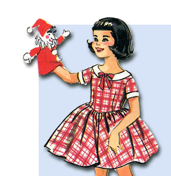 1950s Vintage McCalls Sewing Pattern 4346 Easy Little Girls Dress Pattern Sz 10 - Vintage4me2