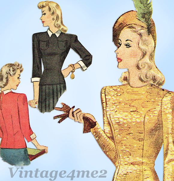 McCall Pattern 4452: 1940s Chic Misses Blouse Sz 32 Bust Vintage Sewing Pattern - Vintage4me2