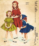 1950s Vintage Helen Lee Girls Dress 1958 McCalls Sewing Pattern 4465 Size 6 24B