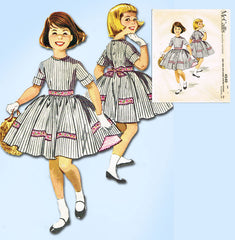 1950s Vintage McCalls Sewing Pattern 4540 Toddler Girls Dress & Petticoat Size 6
