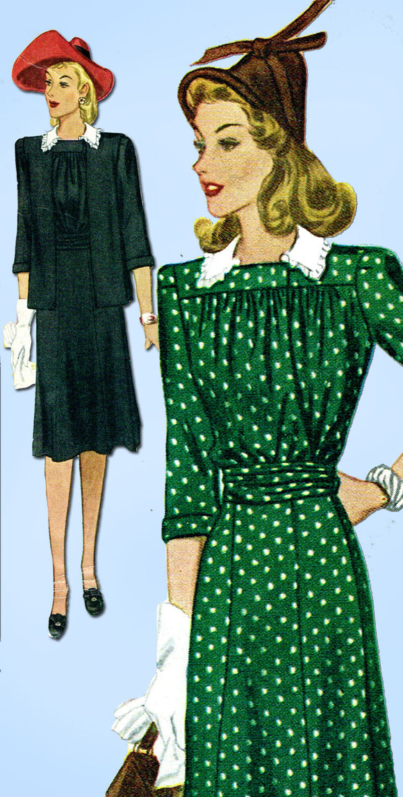 1940s Vintage McCall Sewing Pattern 4552 Stylish WWII Maternity Dress Sz 14 32B - Vintage4me2