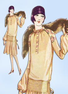 1920s Original Vintage McCall Sewing Pattern 4559 Uncut Shirred Flapper Dress 34B -Vintage4me2
