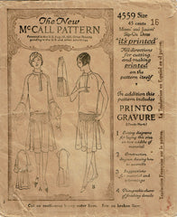 1920s Original Vintage McCall Sewing Pattern 4559 Uncut Shirred Flapper Dress 34