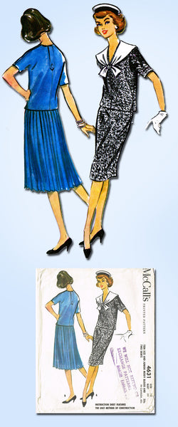1950s Vintage McCalls Sewing Pattern 4631 Misses 2 Pc Sailor Dress Size 10 30B