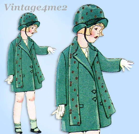 McCall Pattern 4640: 1920s Cute Toddler Girls Coat Size 2 Vintage Sewing Pattern