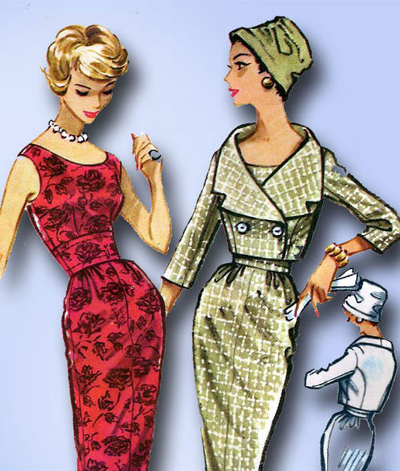 1950s Vintage Misses Cocktail Dress Uncut 1958 McCalls Sewing Pattern 4649 Sz 14